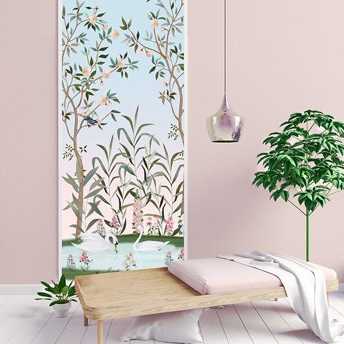 chinoiserie, papierpeint, tapisserie, panoramique, vegetation, wallpaper, walldecor, fresque, cygne, panoramic, decor mural