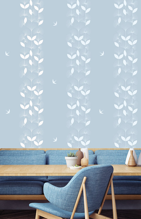 vegetation, papier peint, panoramique, birds, wallpaper, walldecor, fresque, plume, panoramic, decor mural