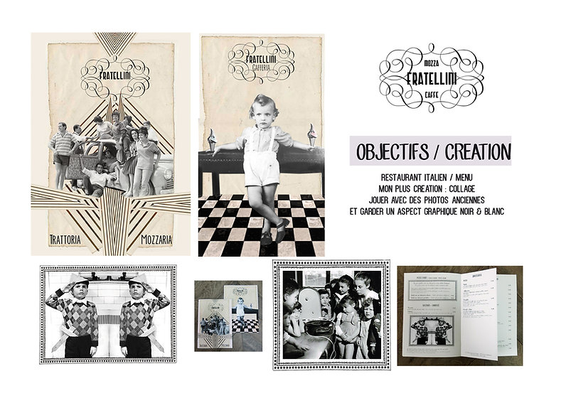 carte, italien, family, MENU, RESTAURANT,FRATELLINI ,COLLAGE ,FAMILLE ,ILLUSTRATION , illustratrice, children, glace, ice cream, restaurant, designer, identité visuelle, identity visuel, graphiste, graphisme, frame, cadre