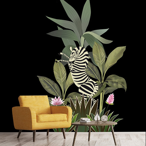 chinoiserie, papierpeint, zebra, panoramique, vegetation, wallpaper, walldecor, fresque, zebre, panoramic, decor mural