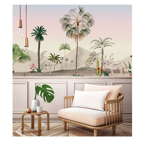 desert, oasis, papier peint panoramique, panoramique, wallpaper, walldeco, fresque, palmier, panoramic, decormural