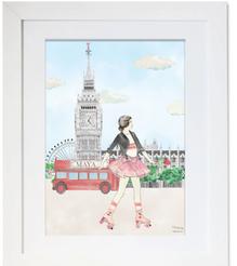 London, Illustration, maison juli, bus, tigre, roller, cirl , rock