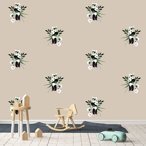 vegetation, papier peint, panoramique, flower, wallpaper, walldecor, fresque, panda, panoramic, decor mural