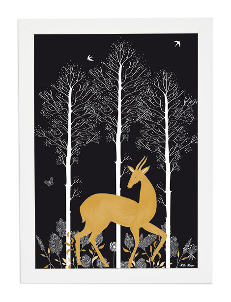 tableau, affiche, poster, cerf, foret, forest