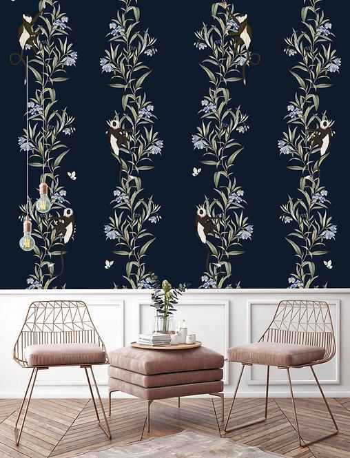 butterfly, papier peint, panoramique, singe, wallpaper, walldecor, fresque, monkey, panoramic, decor mural