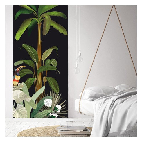 vegetation, papier peint, panoramique, jungle, wallpaper, walldecor, fresque, toucan, panoramic, decor mural