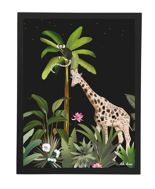tableau, affiche, poster, savane, palmier, palmer, girafe, mokey, jungle, vegetation, singe, perroquet