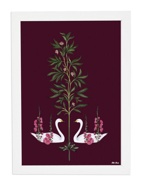 tableau, affiche, poster, cygne, fleur, rouge , papillon, butterfly