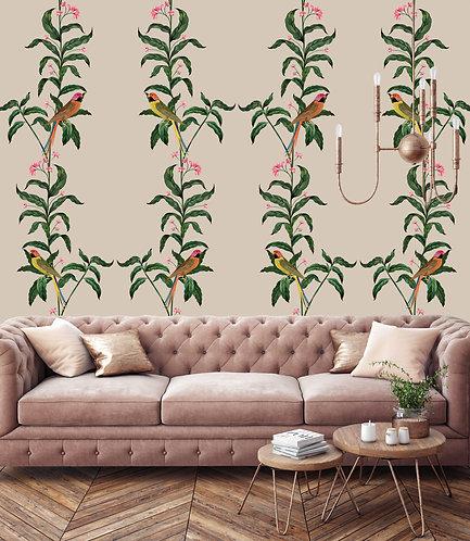 flower, papier peint, panoramique, perroquet, wallpaper, walldecor, fresque, parrot, panoramic, decor mural