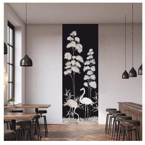 flamand rose, papier peint, panoramique, vegetation, wallpaper, walldecor, flamingo, singe, panoramic, decor mural