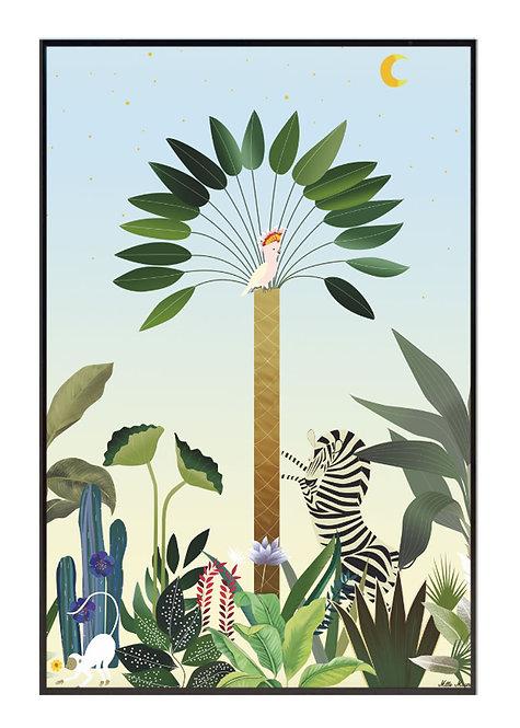 tableau, affiche, poster, zebre, zebra, jungle, savana, palmer, palmier