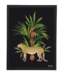 Tableau , dessin, chambre, vegetation, illustration, leopard, déco, paper, designer, mllemouns