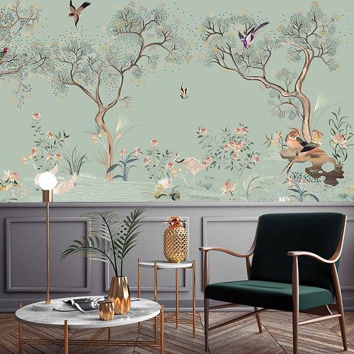chinoiserie, papier peint panoramique, garde, jardin, wallpaper, walldecor, fresque, papelpintado, panoramic, decor mural