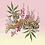 tableau, affiche, poster, tigre, tiger, vegetation, pink, flower, fleur