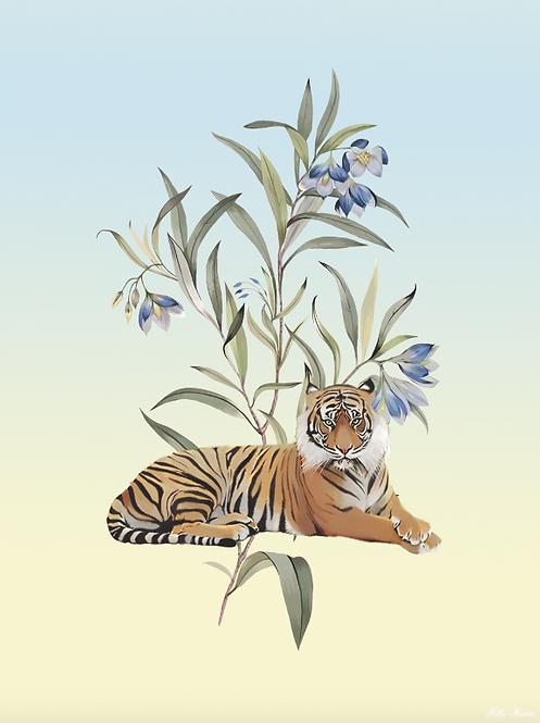 tableau, affiche, poster, tigre, tiger, fleur