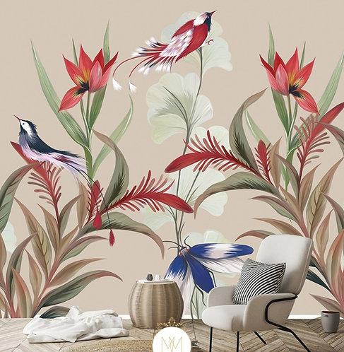 oiseau, décor mural, papier peint, wallpaper, papillon, butterfly, chambre, saloon