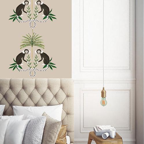 monkey, papier peint, panoramique, palmer, wallpaper, walldecor, fresque, singe, panoramic, decor mural