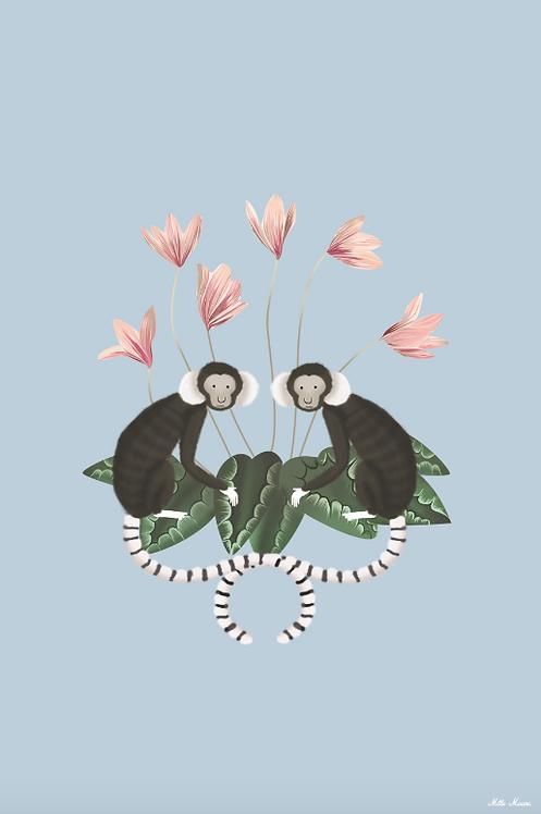 tableau, affiche, poster, monkey, singe, fleur, flower, pink, rose