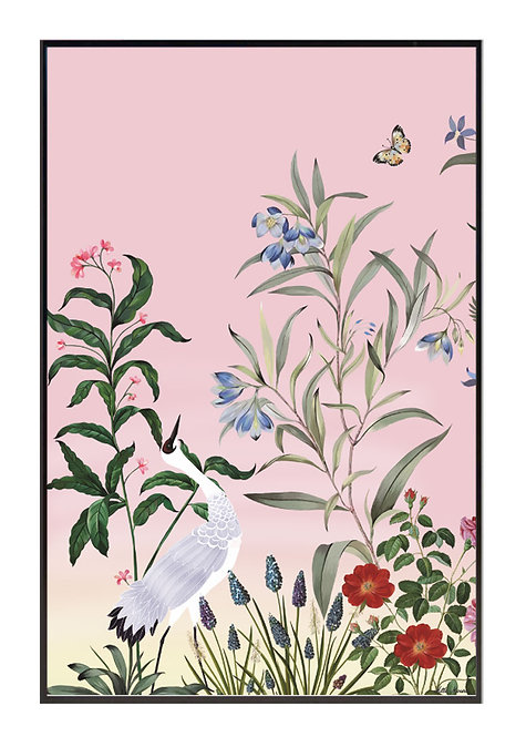tableau, affiche, poster, crane rouge, crowned paradise, fleur, flower, red, rouge, vegetation, chinoisierie