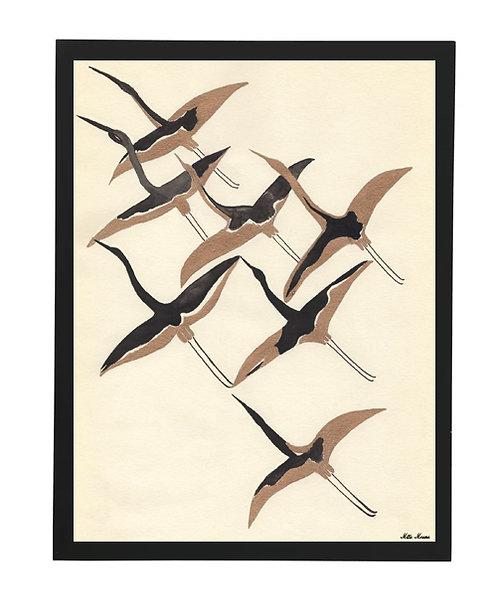 tableau, affiche, poster, oiseau, japonese, noir, blanc, aquarelle