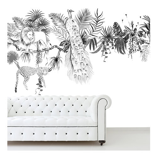 paon, tiger,lion, papier peint panoramique, panoramique, wallpaper, walldeco, fresque, jungle, panoramic, decormural