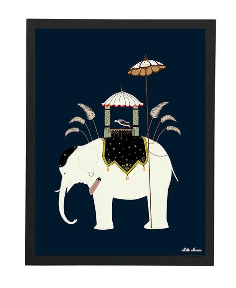Tableau , dessin, inde, elephant, illustration, draw, déco, paper, designer, mllemouns
