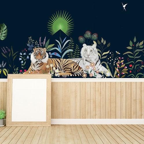 tiger, tigre, elephant, papierpeint, tapisserie, panoramique, wallpaper, walldeco, fresque, jungle, panoramic, decormural