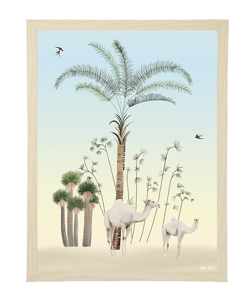 tableau, affiche, poster, savane, palmier, palmer, chameau, camel, desert