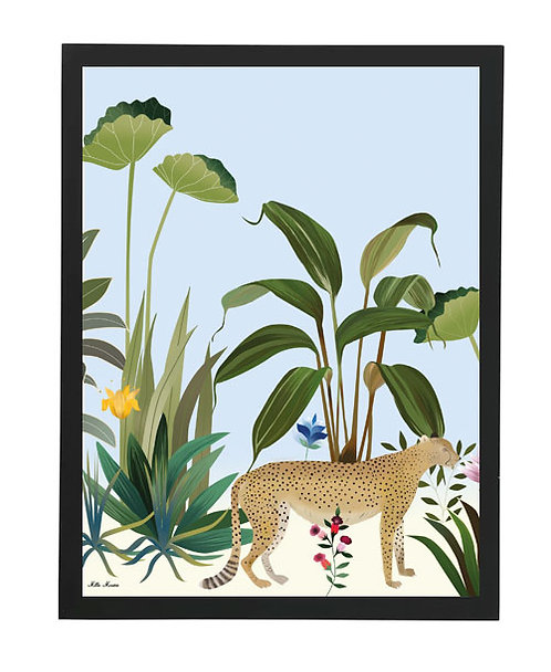 tableau, affiche, poster, savane, palmier, palmer, leopard, jaguard, jungle, vegetation