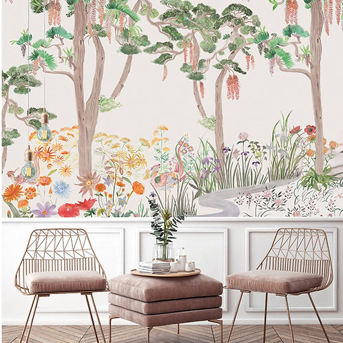 papier peint panoramique, flower, forest, papier peint, decor mural, decoration mural, panoramique, fresque