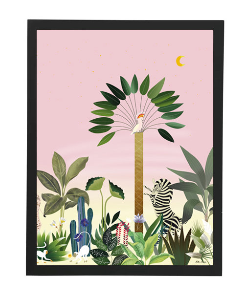 tableau, affiche, poster, savane, palmier, palmer, zebra, zebre, jungle, vegetation, parrot, perroquet