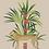 tableau, affiche, poster, cheetah, leopard, cactus, fleur rouge, vegetation