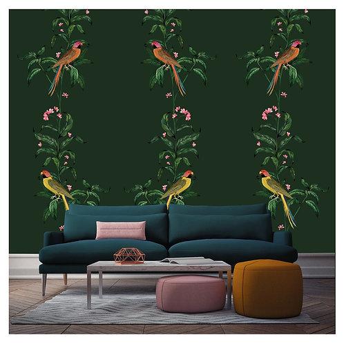perroquet, papierpeint, tapisserie, panoramique, vegetation, wallpaper, walldecor, fresque, parrot, panoramic, decor mural