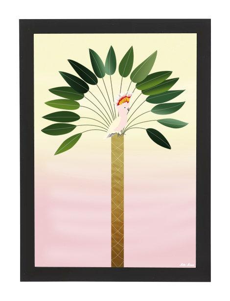 tableau, affiche, poster, parrot, perroquet, palmier, palmer