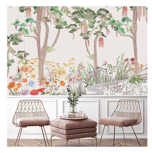 papier peint panoramique, flower, foret, papier peint, decor mural, decoration mural, panoramique, fresque
