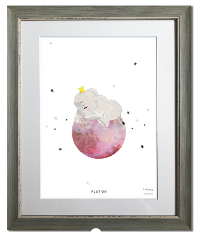 elephant, pluton, planète, animal, maison juli, illustration, aquarelle, dessin