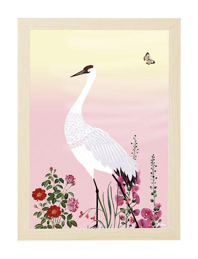 tableau, décoration, design, papillon, illustration, dessin, paper, crane rouge, oiseau, palmier
