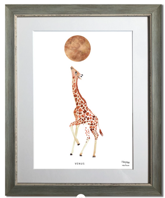 giraffe, venus, planète, animal, maison juli, illustration, aquarelle, dessin
