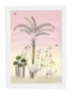Tableau , dessin, palmier, dromadaire, illustration, draw, déco, paper, designer, mllemouns