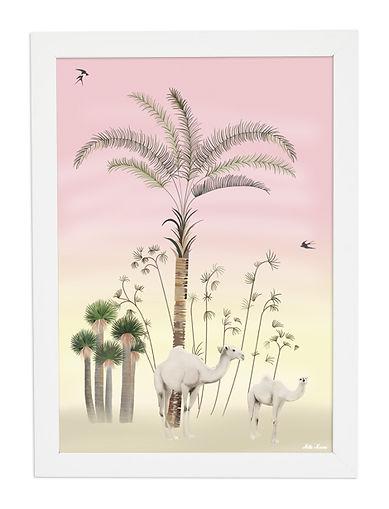 tableau, décoration, design, oasis, illustration, dessin, paper, chameau, camel, palmier