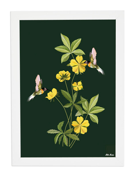 tableau, affiche, poster, monkey, colibri, fleur, flower, yellow, jaune
