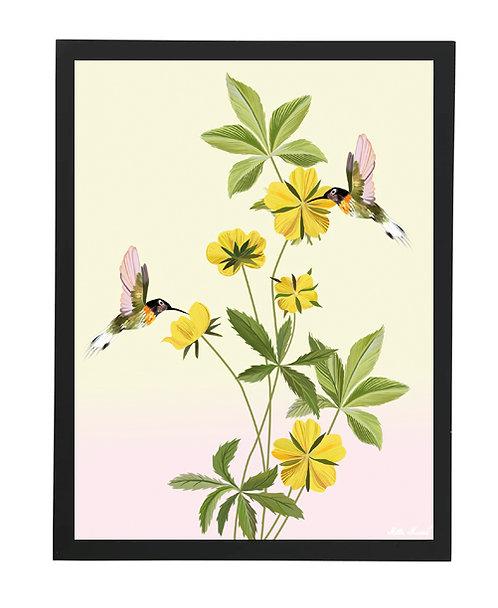 tableau, affiche, poster, flower, fleur, colibri, oiseau, bird, vegetation, yellow