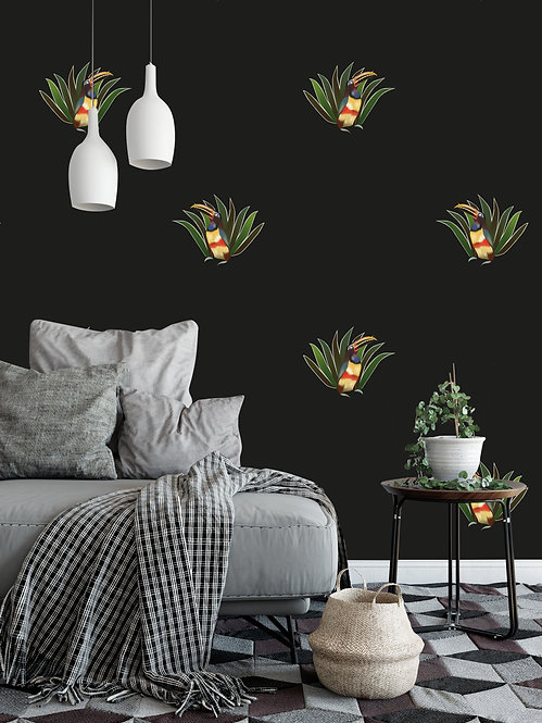 papier peint, panoramique, palmier, wallpaper, walldecor, fresque, toucan, panoramic, decor mural