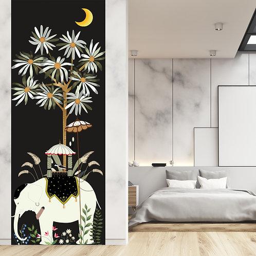 inde, papier peint, panoramique, vegetation, wallpaper, walldecor, fresque, elephant, panoramic, decor mural