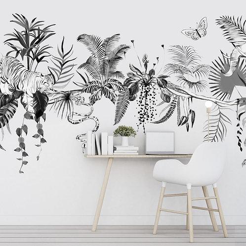 paon, tiger, lion,girafe, papierpeint, tapisserie, panoramique, wallpaper, walldeco, fresque, jungle, panoramic, decormural