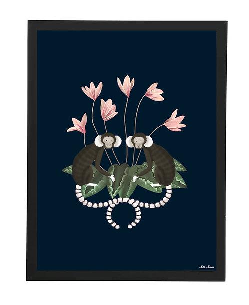 tableau, affiche, poster, monkey, singe, fleur rose
