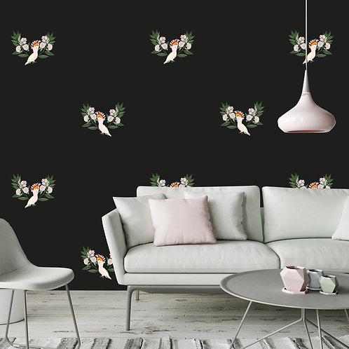 flower, papier peint, panoramique, birds, wallpaper, walldecor, fresque, parrot, perroquet, decor mural