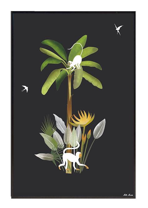 tableau, affiche, poster, monkey, singe, palmer, palmier