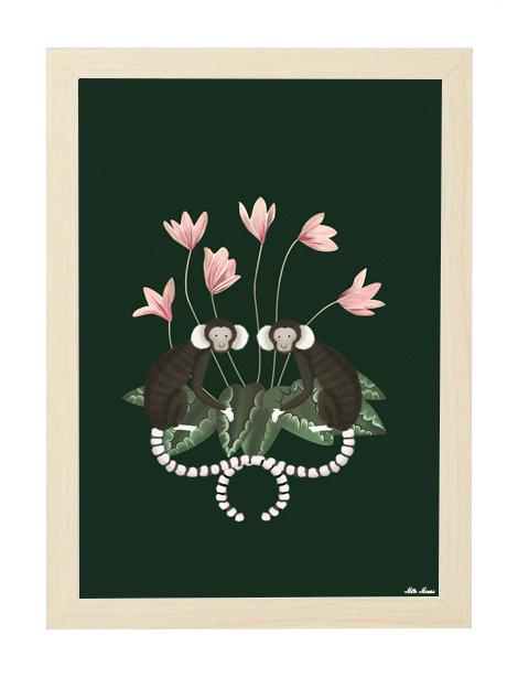 tableau, affiche, poster, monkey, singe, flower, singe, fleur, rose, pink
