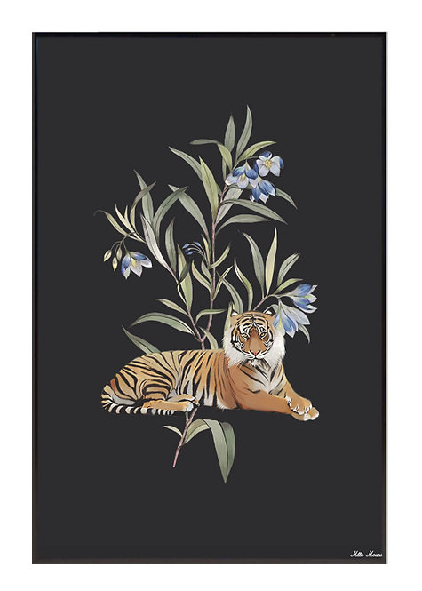 tableau, affiche, poster, tigre, tiger, vegetation, flower